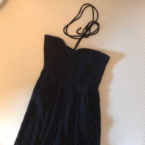 Aerie black tie halter jumpsuit romper size small